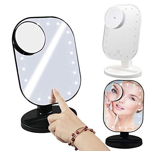 Jinxuny Schminkspiegel mit LED-Spiegel für Trucco mit Spiegel und 20 LED-Leuchten und Touch-Screen Dimmer mit hoher Auflösung abnehmbar Kosmetika für Trucco Tisch schwarz