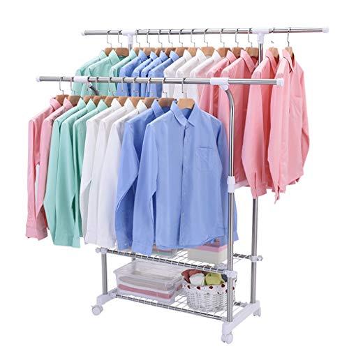 Outdoor droogrekken, multifunctionele slaapkamer Entree kapstok Staande RVS kledingrek twee lagen kledingrek