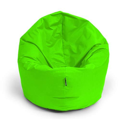 BuBiBag Sitzsack M - XXL 2-in-1 Funktionen mit Füllung Sitzkissen Bodenkissen Kissen Sessel BeanBag (100 cm Durchmesser, neongrün)