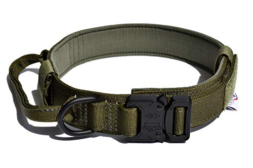 Tuberk Tactical Dog Collar Military Training Control Handle Adjustable Velcro Area Naylon Dog Collar