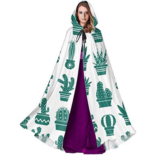 Zome Lag Vampir kostuum, volwassene luxe omhang,hekmagie omhang,kap met capuchon, monochrome patroon cactus bloempotten cactus capuchon mantel voor vrouwen volwassenen capuchon