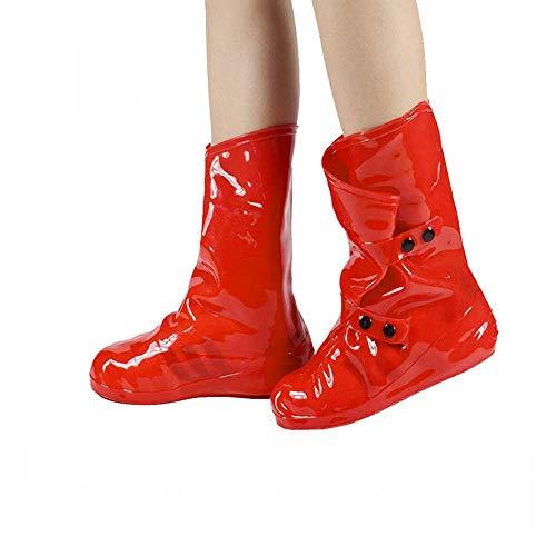EEKUY Frauen-Absatz-Schuh-Cover, 11,8 Zoll Hign wasserdichte Regen Schuhe Abdeckung Wiederverwendbare Anti-Rutsch-Überschuh Für Outdoor Sport Überschuhe,Rot,M