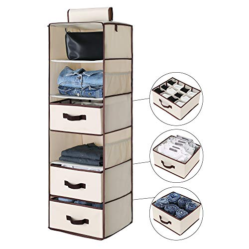 "StorageWorks 6-Shelf Hanging Closet Shelves, Hanging Closet Organizer with 2 Drawers and 1 Underwear Drawer, Canvas, Beige, 13.6""W x 12.2""D x 42.5""H"