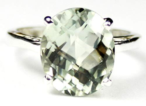 6 carat GREEN AMETHYST set in solid Sterling Silver. Ladies ring. •SR055