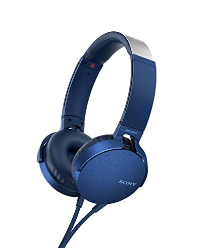 Sony MDR-XB550AP - Cuffie on-ear EXTRA BASS con microfono, Archetto regolabile, Blu