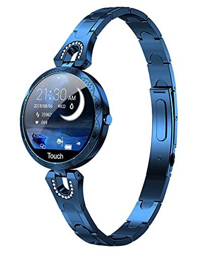 Reloj inteligente para mujer Android iOS teléfono Fitness Tracker Frecuencia cardíaca Presión arterial impermeable Actividad Tracker podómetro Paso Calorías Contador Monitor de sueño Ejercicio de salud Lujo Moda Smartwatch, Reloj inteligente., AK15 oro