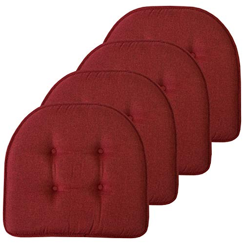 Sweet Home Collection Chair Cushion Memory Foam Pads Tufted Slip Non Skid Rubber Back U-Shaped 17' x 16' Seat Cover, 4 Pack, Wine Burgundy