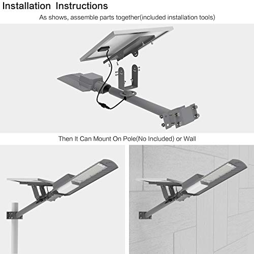 TENKOO 200W Solar Street Light Outdoor Lamp, with Remote Control, Light Control, LED Flood Lights Dusk to Dawn Security Lighting for Yard Garden, Basketball Court (with Arm Pole)