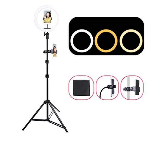Mankvis 14-inch Ring Licht met Statief En Microfoon Stand, Mobiele Telefoon Stand Drie-Kleur Streamer