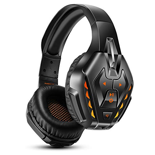 PHOINIKAS Headset PS4, Gaming Headset für Xbox One, PC, Wireless Bluetooth Headset mit 7.1 Bass Surround, Noise Cancelling-Mik Wired Kopfhörer für Spiele, LED Light, 40H-Spielzeit - Orange