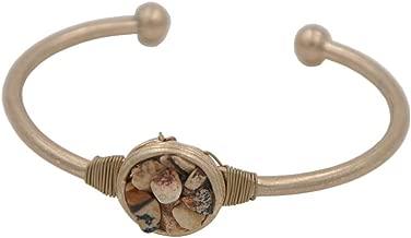 WINCSPACE Raw Gemstone Cuff Copper Bracelet Rustic Bohemian Chic Stone Boho and Hippie Jewelry for Woman