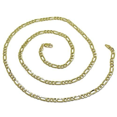 Cadena de Oro Amarillo de 18k para Hombre Tipo 3x1 de 60cm de Larga y 3mm de Ancha.6.75gr de Oro de 18k