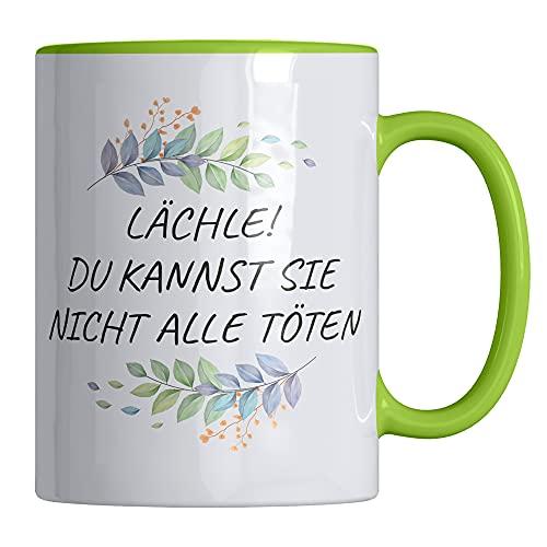Taza de café con texto en alemán «Lächle, du kannst nicht alle töten», divertida taza de 330 ml, apta para lavavajillas y microondas, elegante taza de mensaje de Your Gravur
