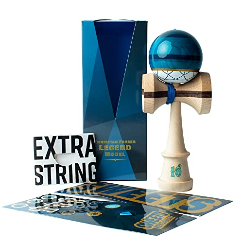 Sweets Kendamas Pro Model Kendama Christian Fraser Sapphire, Premium Skill Toy, Extra String Accessory Gift Bundle