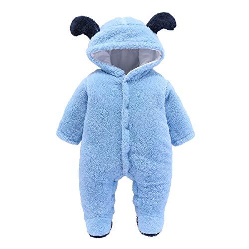Tianhaik Baby Schneeanzug Mädchen Jungen Winteroverall Kapuze Fuß Fleece Overall Oberbekleidung für 0-12 Monate
