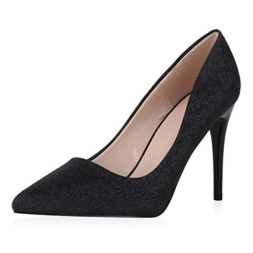 SCARPE VITA Damen Spitze Pumps High Heels Glitzer Party Schuhe Elegante Abendschuhe Stiletto Metallic Absatzschuhe 190379 Schwarz Black 36