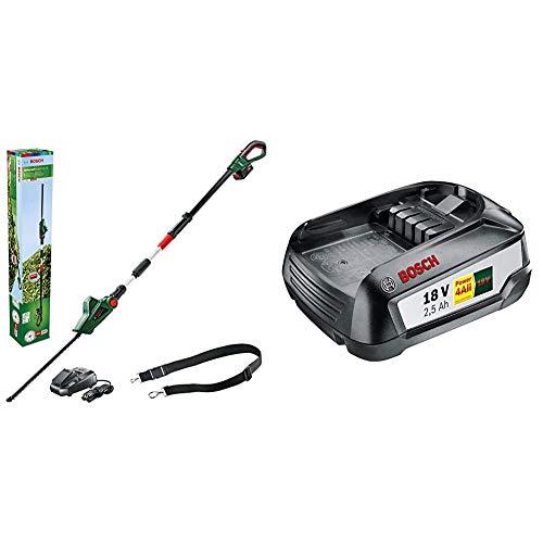 Bosch UniversalHedgePole 18 - Cortasetos telescópico (batería, cargador, caja de cartón, 18V, 2,5Ah) + Batería de Litio de 18 V / 2,5 Ah [Power for all]