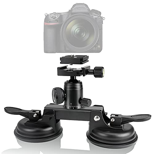 Heavy Duty (20 lbs Load) True DSLR /Mirorrless Camera Suction Cup Car Mount Professional Camcorder Hi-Speed Motion Vehicle Holder w/Quick Release 360°Ball Head Compatible with Nikon Canon Sony RED BM