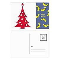 クリスマスツリーのレッド・フェスティバル バナナのポストカードセットサンクスカード郵送側20個