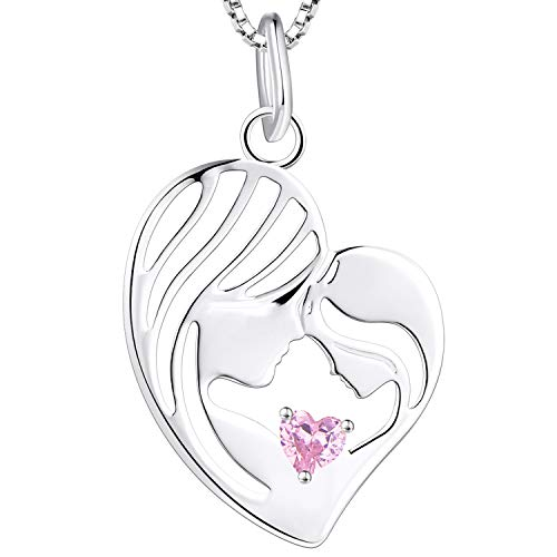 YL Madre e hija Collar 925 Plata de ley Rosa Cubic Zirconia Corazón Colgante Collar Regalos para mamá Mujeres, 45-48 CM