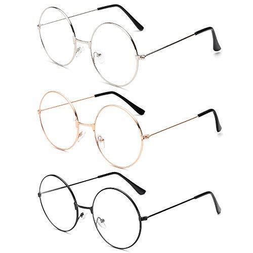 NETUME 3 Paar Metall Runde Brille - Retro Brille Herren und Damen, Fake Brille Ohne Sehstärke Durchsichtige Brille Brillengestelle, Vintage Oma Brille mit Fensterglas (Schwarz, Golden, Silbern Farbe)
