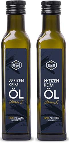 Weizenkeimöl 500ml (2x250ml) | 100% naturrein | 1. Kaltpressung | enthält Vitamin E und Spermidin...