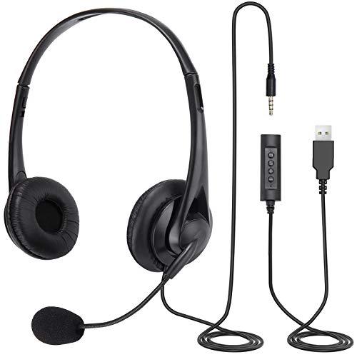 Auriculares PC, 3,5 mm USB con micrófono de reducción de Ruido, Auriculares de Negocios con función de Chat de Skype, Compatible con Mac, PC, teléfonos Android (M)