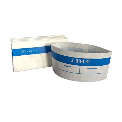 1000 Stück Geldbanderole Papier für:100 x 20 € blau, Banderolen für Euro Geldscheine