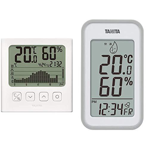 タニタ 温湿度計 温度 湿度 デジタル グラフ付 ホワイト TT-580 WH 温湿度の変化を確認 & 温湿度計 温度 湿度 デジタル 壁掛け 時計付き 卓上 マグネット グレー TT-559 GY【セット買い】