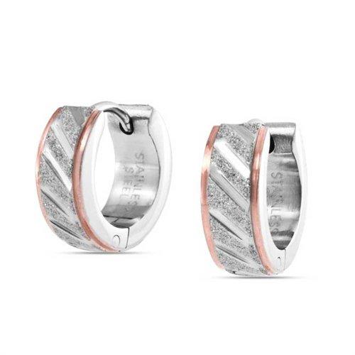 Zwei Ton Diagonal Geschnitzt Reifen Kpop Huggie Ohrringe Für Männer Sandgestrahlt Matt Silber Rose Gold Ton Edelstahl