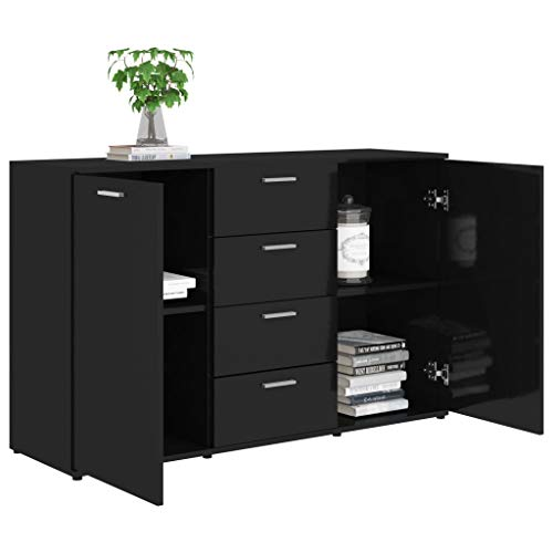 GOTOTOP Modern Sideboard with 2 Doors and 4 Drawers, 120 x 35.5 x 75 cm, Chipboard Cabinet for Living Room, Bedroom, Dining Room, Gloss Black