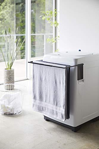 山崎実業(Yamazaki) マグネット伸縮洗濯機バスタオルハンガー ブラック 約W39XD32XH18cm タワー タオル掛け 置き棚 4874