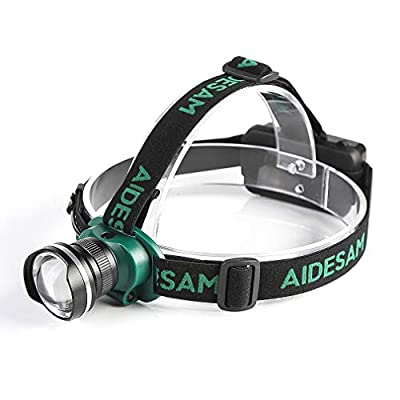 Aidesam Headlamp, LED Work Headlight,Rechargeable Waterproof Flashlight with Zoomable Work Light,Head Lights for Camping, Hiking, Outdoors