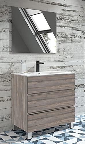 Juego de Mueble de Baño Modelo Basic, Conjunto formado por Mueble de Baño, Lavabo de Porcelana y Espejo. Compacto Preinstalado de Fábrica