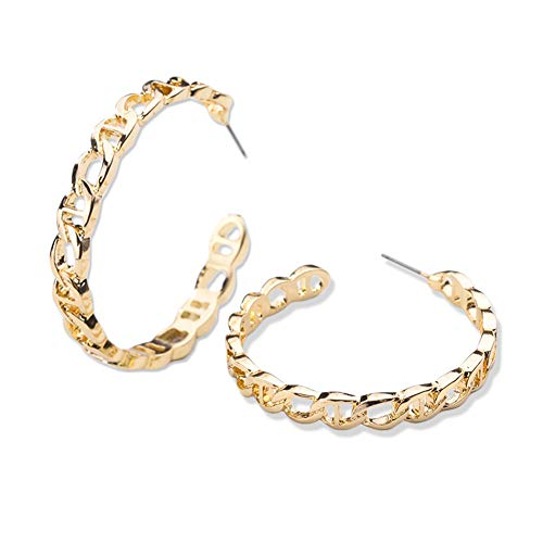14k Gold Hoop Earrings For Women - Personalized Chain Link Hoop Earrings, Hypoallergenic Gold and Silver Plated Oval Loop Earrings