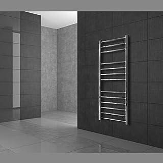 ECD Germany Radiador toallero de baño DHK Towel - 600 x 700 mm - Cromado - Radiador calentador y secador de toallas - Radiador de pared - Radiador calefactor de baño - Diseño curvado - No eléctrico