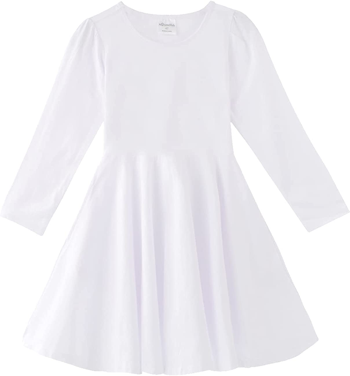 Noomelfish Girls Long Puff Sleeve Swing Dress Casual Cotton Twirly Skater Dresses with Pockets (2-12 Years)