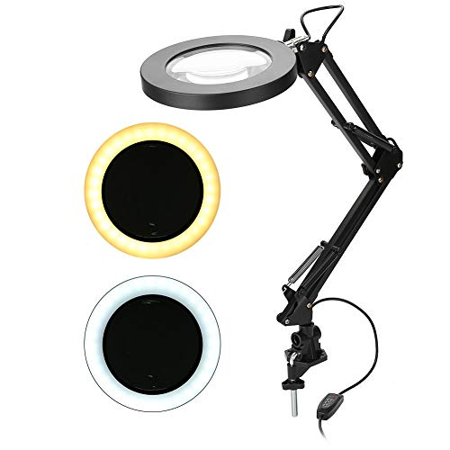 AYNEFY Lupa LED, 5 aumentos de salón 5 aumentos, delineador de ojos, manicura, tatuaje, belleza, lupa iluminada con soporte de abrazadera ajustable, carga USB