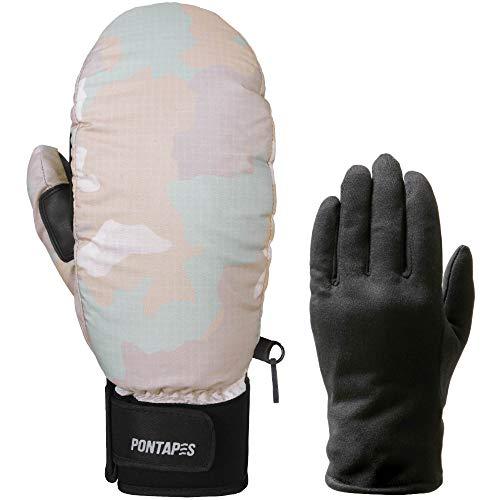 PONTAPES(ポンタペス) スノーボード グローブ ミトン メンズ レディース インナーグローブ付き 日本企画品 全18色 4サイズ PG-051M カモホワイト XLサイズ 手袋 スノーグローブ スノボ スキー ミトングローブ