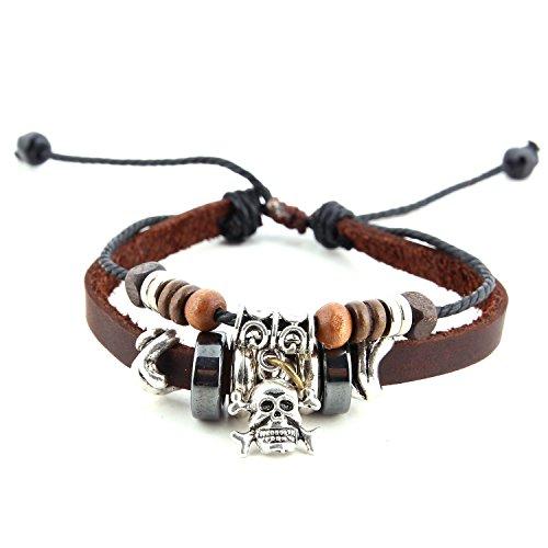 Morella pulsera de cuero con anillos abalorios y colgante calavera para damas