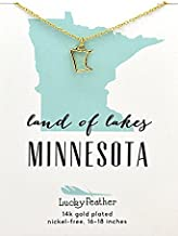 "Lucky Feather Minnesota Shaped State Necklace, 14K Gold-Dipped Pendant on Adjustable 16""-18"" Chain"
