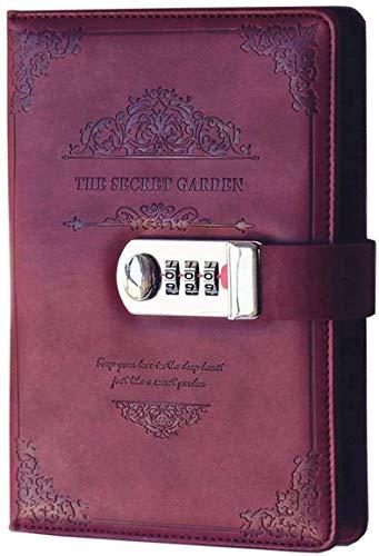 LHKJ Vintage PU Leder Tagebuch mit Zahlenschloss,Passwort Notebook Notizblock Planner Organizer(Rot)
