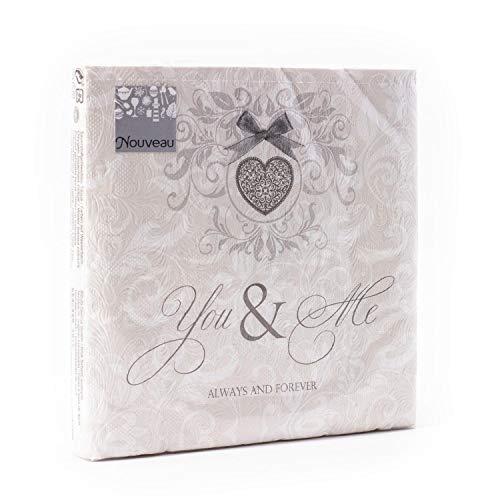 Serviettes en Papier jetables Fiorentina You & Me crème Taupe, 16 pièces 3 Couches - 33 x 33