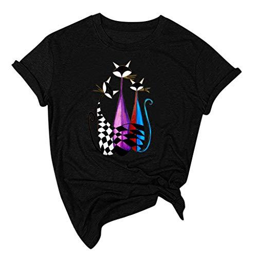 Ros1ock_Women's Tops Cat Sunflower Print Short Sleeve Blouses O-Neck Solid Sweatshirts T- Shirts Black