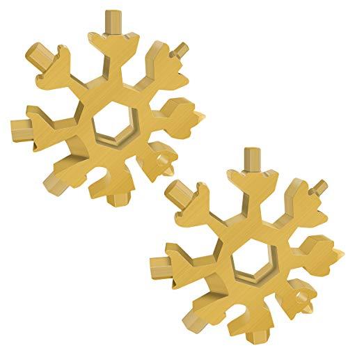 2 Stück 18-in-1 Schneeflocken Multi-Werkzeug, Edelstahl-Flaschenöffnerschlüssel, flaches Kreuz-Schraubendreher-Set, tragbares Multitool, cooles Vatertagsgeschenk, Weihnachtsgeschenk (2 x Gold)