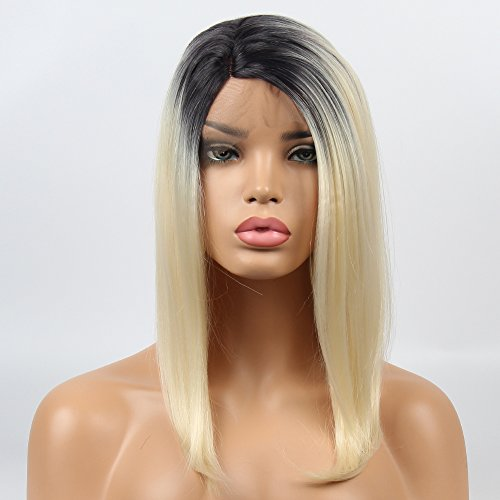 vvBing Short Bob Lace Front Wig Synthetic 2 Tones Ombre Dark Roots to Pastel Pink Wig Glueless Wave Hair Heat Resistant Fibers Middle Parting 14inch
