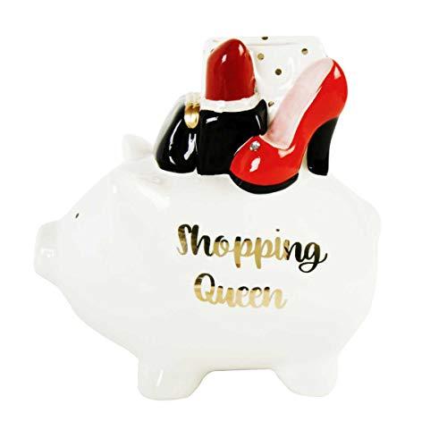 Michel Toys wunderschönes großes Sparschwein,Spardose Shopping Schwein aus Keramik
