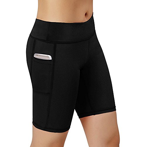 Women Performance Compression Shorts with Side Pocket (Medium Waist 24.41-35.43inch, Black)