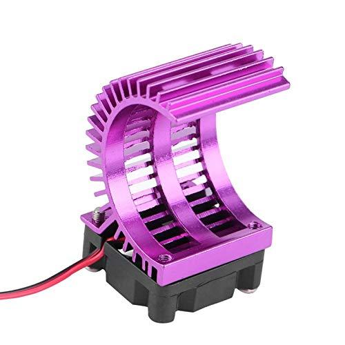 Disipador de calor del motor RC, modelo accesorio del disipador de calor del motor con ventilador de refrigeración RC Disipador de calor, para escala 1/10 Escala Eléctrico RC Coche 550 Motor (púrpura)