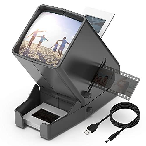 DIGITNOW! Visualizzatore di diapositive e pellicole da 35 mm, visualizzazione illuminata a LED con ingrandimento 3X, alimentazione USB/funzionamento a batteria, per negativi di diapositive da 35 mm
